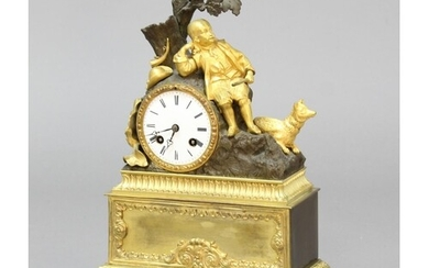 "FRENCH GILT METAL MANTEL CLOCK the 3"" enamelled dial on a br..."