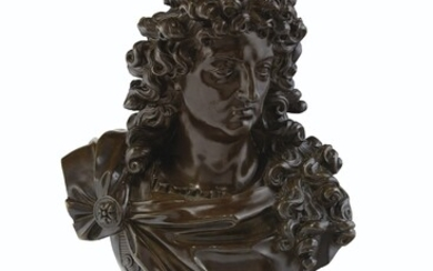 FRENCH, LATE 18TH/19TH CENTURY, THE ORMOLU BASE 18TH CENTURY AND ASSOCIATED, A BRONZE BUST OF KING LOUIS XIV