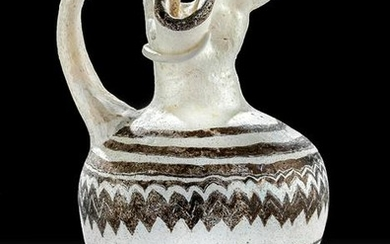 Greek Core-Formed Glass Oinochoe - White / Aubergine
