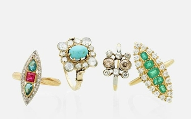 Four gem-set gold rings