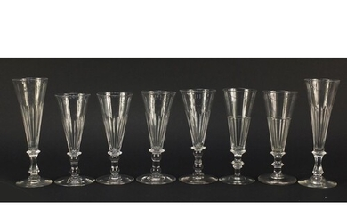 Four pairs of 18th/19th century Champagne flutes including t...