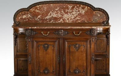 French Provincial style marble top oak sideboard