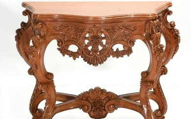 French Rococo Style Golden Oak Console Table