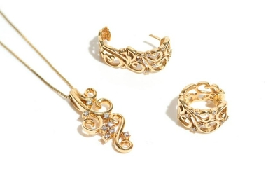 GOLD AND DIAMOND NECKLACE AND EARRINGS, 15g