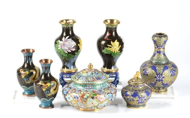 GROUP OF CHINESE CLOISONNE & CHAMPLEVE ITEMS