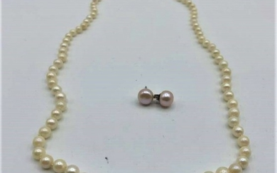 Genuine Pearl Necklace with 10 K Clasp, Earrings