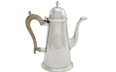 George I sterling silver coffee pot, Bayley