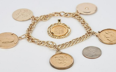 Gold Coin Bracelet incl. $5 Liberty & Gold Peso