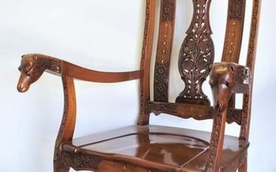 Hand Carved Rocking Chair With Floral and Camel Design