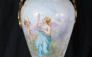 Hand painted porcelain urn with bronze mounts