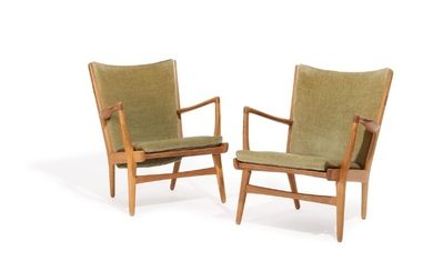 """Hans J. Wegner: """"AP 16"""". A pair of oak easy chairs, loose seat cushion and back upholstered in olive green velour. (2)"""