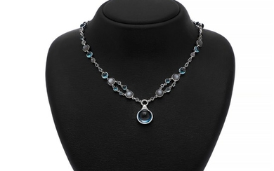 Hartmann's: A topaz, moonstone and diamond necklace set with numerous topaz and moonstone cabochons and brilliant-cut diamonds, mounted in 18k white gold.