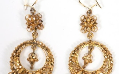 INDIAN 22KT GOLD DANGLE EARRINGS, PAIR