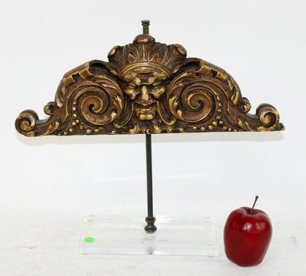 Italian carved wooden crest on lucite stand