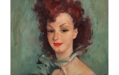 JEAN-GABRIEL DOMERGUE (1889-1962) PORTRAIT D'UNE éLéGANTE Oil on isorel; signed lower right 21 1/4 x 17 3/4 in.
