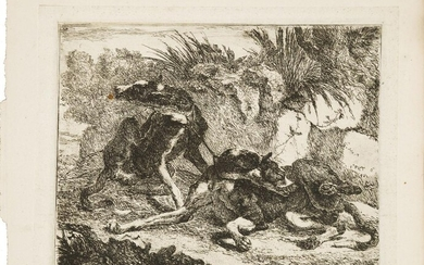 Jan Fyt, Flemish 1611-1661- Landscape with Greyhound and Rifle, and...