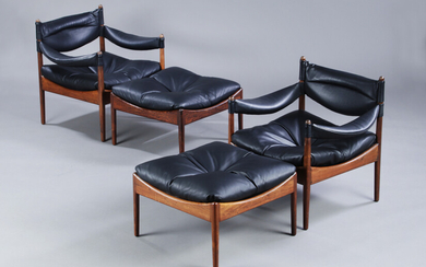 Kristian Solmer Vedel. A pair of 'Modus' lounge chairs with matching rosewood footstools (4)