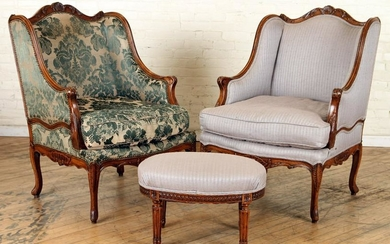 LARGE PAIR LOUIS XV STYLE BERGERE CHAIRS C.1950