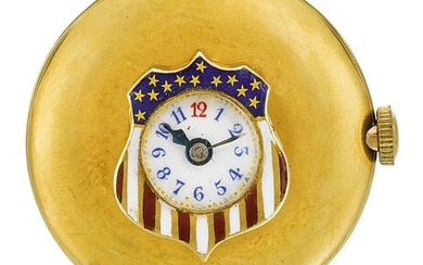 LONGINES | A GOLD AND ENAMEL BUTTON HOLE WATCH IN THE SHAPE OF A STYLISED AMERICAN FLAG CIRCA 1910
