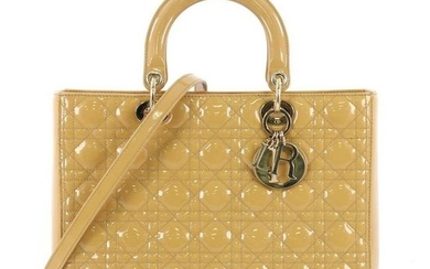 Lady Dior Handbag Cannage Quilt Patent Large Yellow