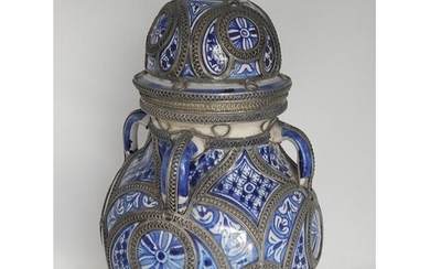 Large Eastern Blue & White Four Handled Vessel & Lid with Wh...