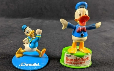 Lot of Two Vintage Disney Donald Duck Push Up Puppet