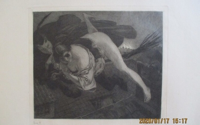 "Louis Moe: ""Til Bloksbjerg"" 1901. Signed Louis Moe, Opus 8, no. XXI. Etching. Sheet size 53×65 cm. Unframed."