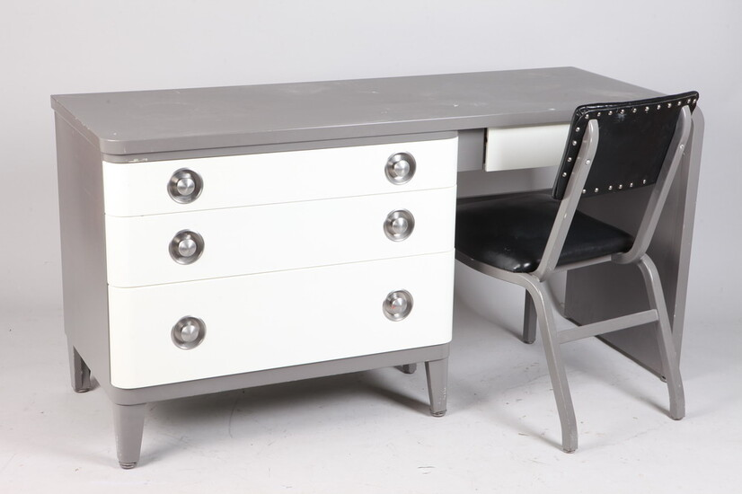 MID-CENTURY MODERN DARK GRAY AND WHITE ENAMELED FOUR-DRAWER DESK, circa...