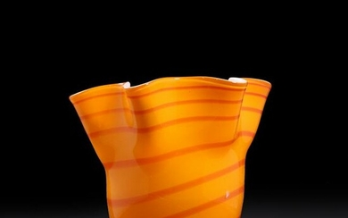 Mid-Century Modern Bright Orange Glass Swirl Vase