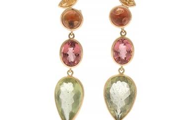 Natascha Trolle: A pair of ear pendants each set with a marquise-cut diamond, two torumalines and a beryl, mounted in 18k gold. (2)