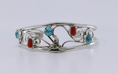 Navajo Native American Turquoise and Coral Bracelet by