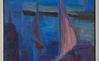 Noémia Guerra - Sailing Boats, oil on canvas, signed and dated '69, 92cm x 59cm, within a