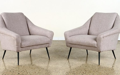 PAIR ITALIAN UPHOLSTERED LOUNGE CHAIRS C.1950