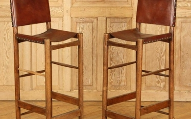 PAIR OAK & LEATERH DANISH BAR STOOLS C. 1960