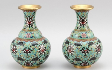 PAIR OF CHINESE CLOISONNÉ ENAMEL VASES In baluster form, with gilt mouths and feet and floral and vine decoration on a celadon green...