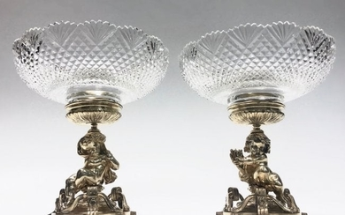 PAIR OF SILVERED BRONZE AND BACCARAT GLASS CENTERPIECES