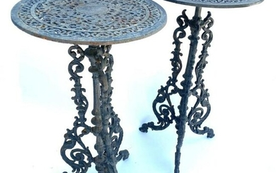 Pair of Black Cast Iron Fern or Plant Stands