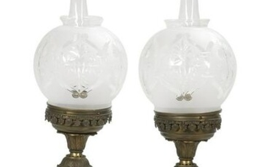 Pair of Cast Metal, Brass and Glass Argand Lamps