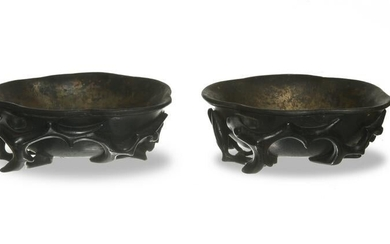 Pair of Chinese Zitan Cups, 18-19th Century