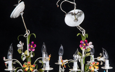 Pair of French Painted Metal Four Light Chandeliers