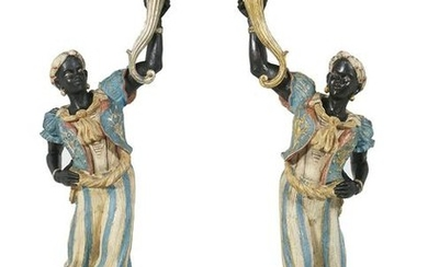 Pair of Italian Carved and Painted Blackamoors