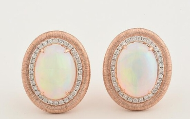 Pair of Opal, Diamond, 14k Rose Gold Earrings.