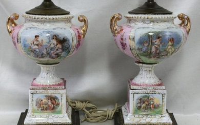 Pair of Porcelain Portrait Decorated Table Lamps with