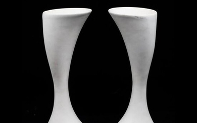 Pair of White Porcelain Contemporary Chalices