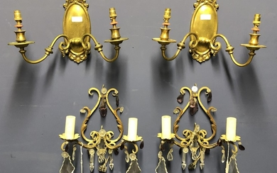 Pair of gilt & painted metal wall sconces with coloured & wh...