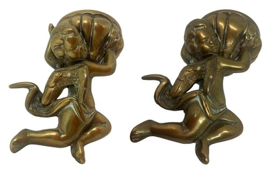 Pair of holy water fonts in gilded bronze with angels.