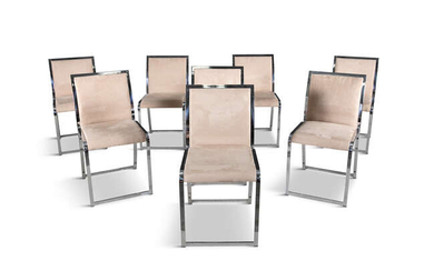 SAPORITI A set of eight chrome dining chairs...
