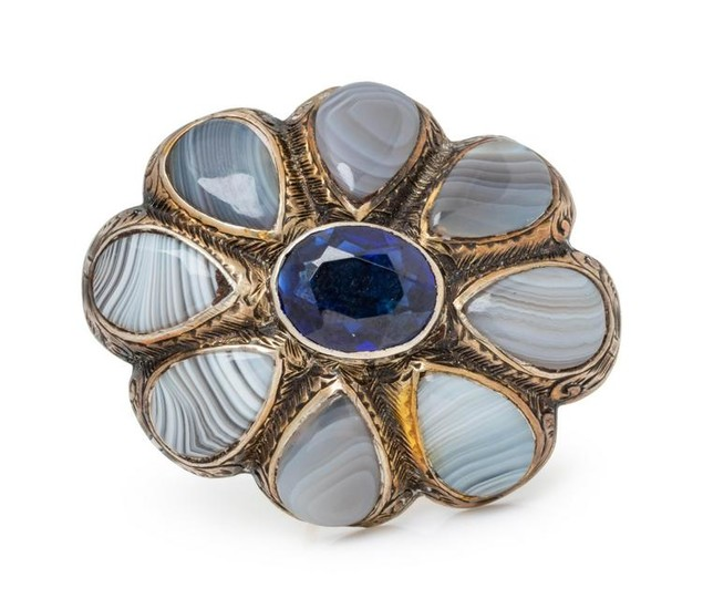 SCOTTISH, SYNTHETIC SAPPHIRE AND AGATE BROOCH