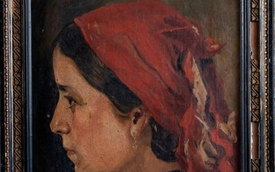 "SPANISH SCHOOL FFS. XIX CENTURY - PPS. S. XX ""Portrait of a girl with a red handkerchief"" Oil on canvas On the back signed and dedicated ""To his brother Angel [...] J.Bello"" Measurements: 40 x 28 cm. Exit: 180uros. (29.949 Ptas.)"