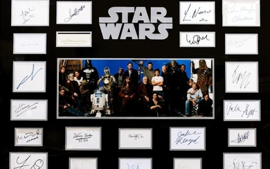 STAR WARS CAST TWENTY TWO INDIVIDUALLY SIGNED CARDS including...
